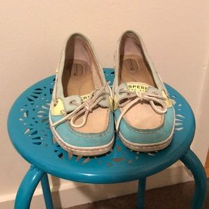 Sperry Top Sider Boat Shoes, Size 8, Blue Tan Teal